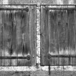 Stock Photo: Old window shutters, black and white photo