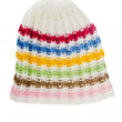 Multi-coloured knitted hat, isolated on white — Stock Photo