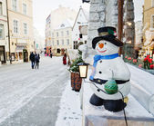 Street of Tallinn decorated by Christmas holidays — Stock Photo