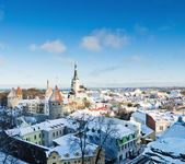 A view over the rooftops of old Tallinn frosty morning — Stock Photo