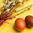 Bunch of willow branches and two Easter eggs — Stock Photo #28641153