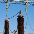 High-voltage insulators on transformer substation — Stock Photo