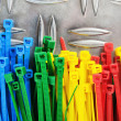 Set colored cable ties, close up — Stockfoto