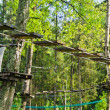 Dangerous ropeway with tether in rope park, trees with green lea — Stock Photo