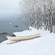 Stock Photo: Winter landscape with fishing boat on seacoast