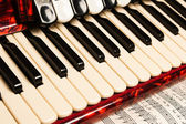 Red accordion, close up — Stock Photo
