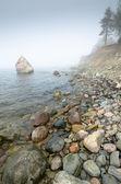 North Estonian limestone shore in a fog — Stock Photo
