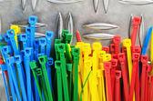 Набор цветных стяжек, крупным планом — Стоковое фото