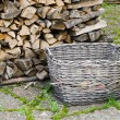 Basket of firewood, close-up — Stock Photo