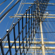 Mast with sails of an old sailing vessel — Stock fotografie
