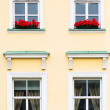 Four Windows with red flowers, close-up — Stock Photo