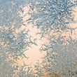 Ice crystals on a window , close-up — Stock Photo