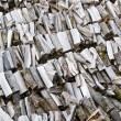 Stock Photo: Folded rows of firewood, close-up