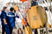 Blocks and rigging at the old sailboat, close-up — Stock Photo