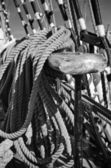 The ropes braided in bays on an ancient sailing vessel — Stock Photo