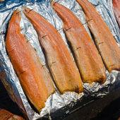Salmon fillet roasted on coals, close-up — ストック写真