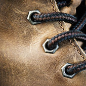Brown leather shoe, close-up — Stock Photo