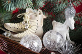 Decoration and gifts of toys for Christmas — Stock Photo