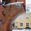 Fortress wall in Riga in snowy winter day — Stock Photo