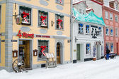 Street of Old Riga in snow day before Christmas — Stock Photo