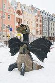 Ulicy starego miasta w dzień śniegu przed świętami bożego narodzenia — Zdjęcie stockowe
