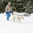Woman with a white dog on a walk in the woods during a snowfall — Stockfoto