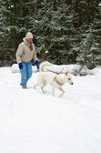 Woman with a white dog on a walk in the woods during a snowfall — Stock Photo