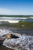 Sea waves lapping on the shore. Baltic Sea. — Stock Photo