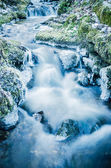 The flow of water in the spring of icicles and ice — Stock Photo