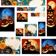 Stok Vektör: Collection of Halloween banners with place for text