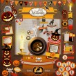 Stock Vector: Halloween scrapbook elements