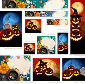 Collection of Halloween banners with place for text — Stock Vector