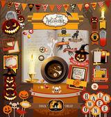 Elementos de recortes de halloween — Vector de stock