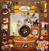Halloween scrapbook elements — Stok Vektör