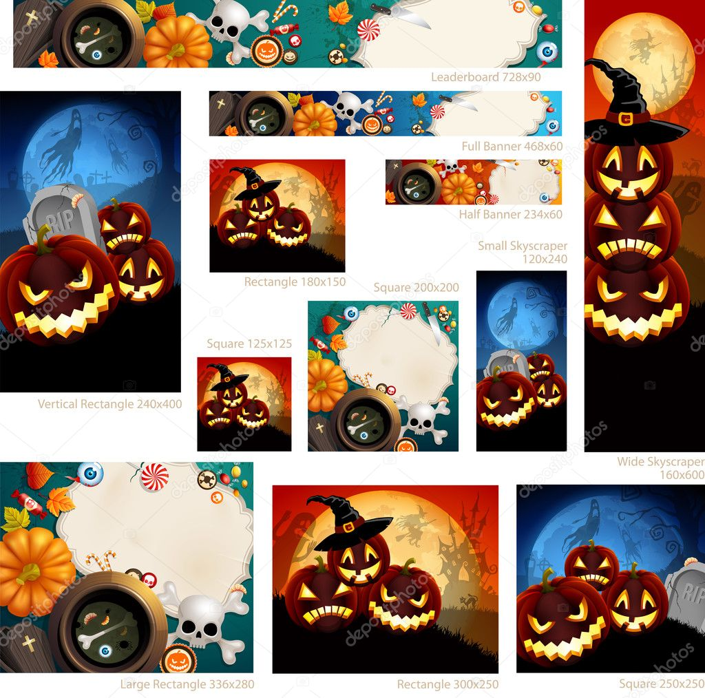 Collection of Halloween banners with place for text. Vector illustration. — Stock Vector #13474680