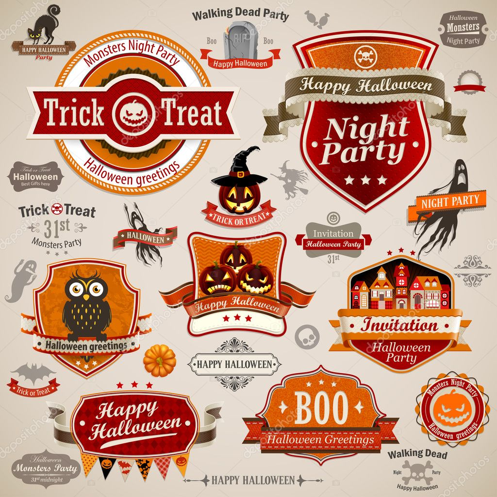 Halloween vintage set - labels, ribbons and other decorative elements. Vector illustration. — Stock Vector #13637353