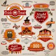 set vintage Halloween — Vector de stock