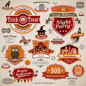 Set vintage halloween — Vector de stock