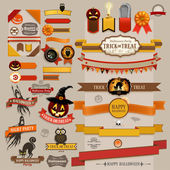 Set of Halloween retro ribbons — Stok Vektör