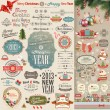 Stock vektor: Christmas vintage Scrapbook set