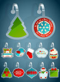 Set of Christmas stickers. — Stock Vector
