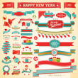 Christmas set - vintage ribbons, — Stockvector