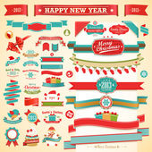 Christmas set - vintage ribbons, — Stock Vector
