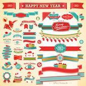 Christmas set - vintage ribbons, — Stock Vector
