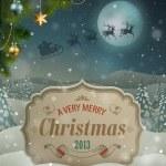 Christmas vintage greeting card — Stock Vector