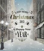 Tarjeta de felicitación de navidad — Vector de stock