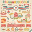 图库矢量图片: Easter scrapbook set - labels