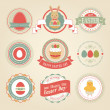 Easter set - labels and emblems. Vector illustration. — Stock Vector