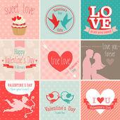 De dag van valentijnskaarten set. — Stockvector