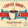 Stock Vector: Vintage Coffee House card.